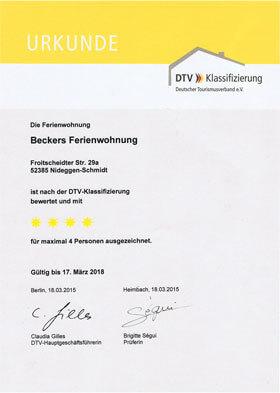 Beckers Ferienwohnung, Zertifizierungsurkunde DTV